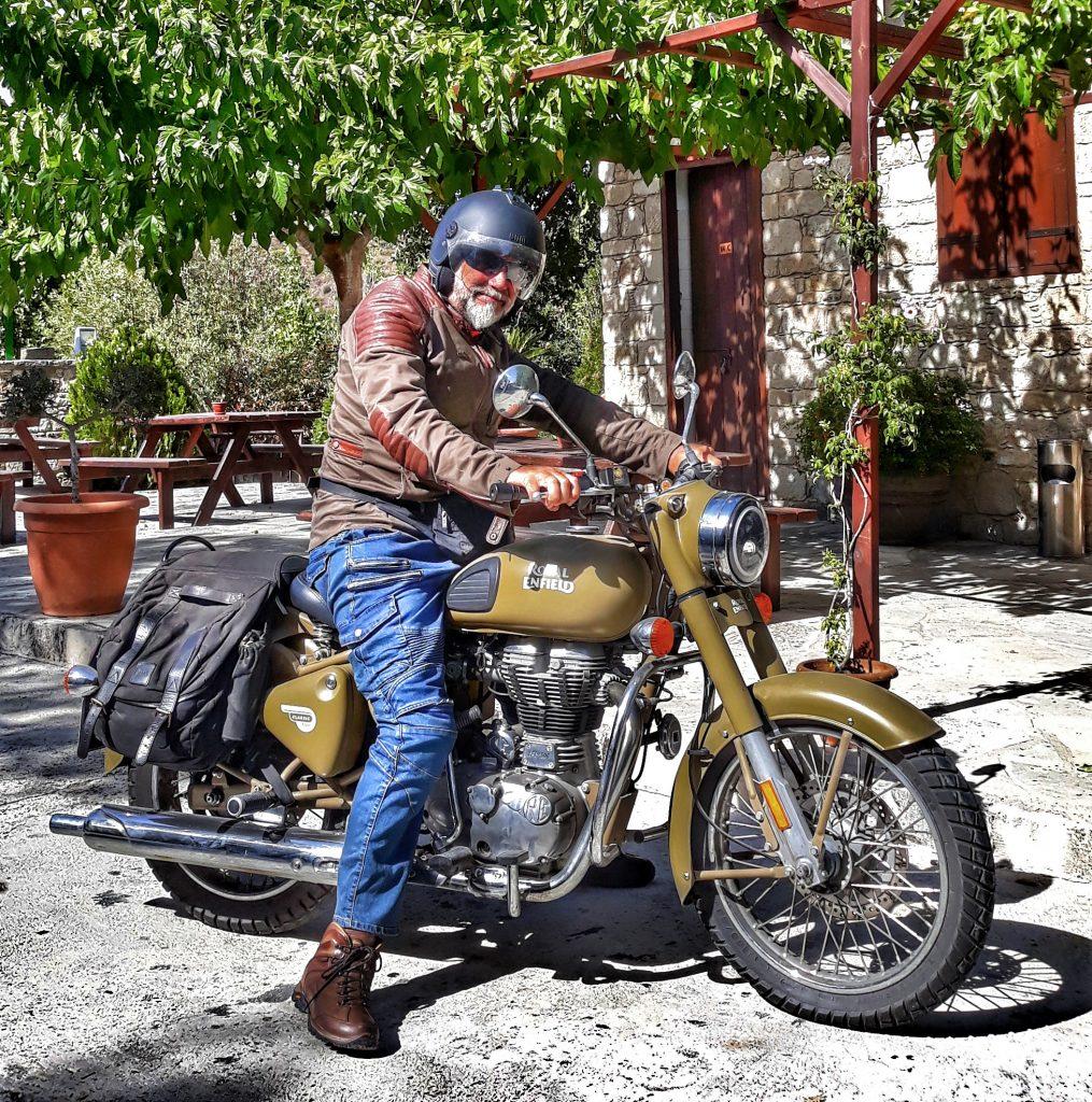 peter on a rental motorcycle